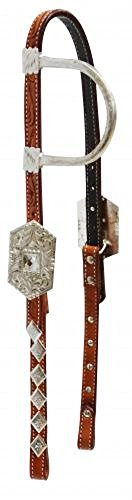 Showman Argentina Tooled Cow Leather Crystal Silver Show 1 Ear Headstall Bridle