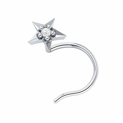 Demira Jewels 14k White Gold Brilliant Cut Diamond Star Wedding Nose Body Piercing Ring Stud Pin
