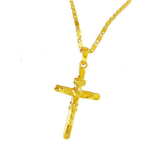 Solid cross jesus pendant 24k gold plated necklace crucifix cross solid cross jesus pendant 24k gold plated necklace crucifix cross necklace pendant for mens womens amazon aloadofball Gallery