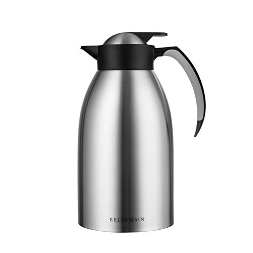 Bellemain Premium Thermal Coffee Carafe Stainless Steel 2 Liter /8 cup Double wall insulated vacuum carafe (Best Thermal Coffee Carafe)