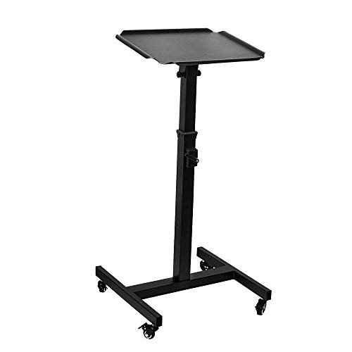 Ollypulse Black Projector Stand, Adjustable Height and Inclination Tripod Projector Laptop Stand with Tray, Projector Cart Bracket with Pulley, Projector Laptop Trolley Presentation Cart 36