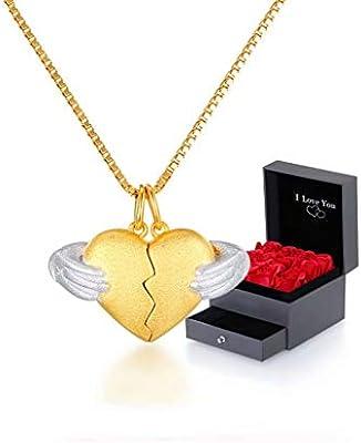 e417f582064f PMLV Collar en Forma de corazón 925 Plata esterlina Colgante de Oro Pareja  Amor Conjunto de Hombres y Mujeres una combinación en Forma de corazón de  una ...