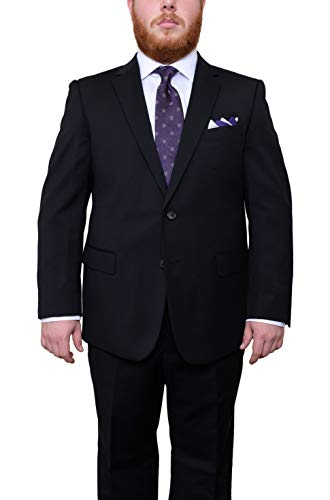 (Lazetti Couture Portly Fit Black Pinstriped Two Button Super 130's Wool Suit)