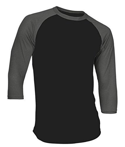 Dream USA Men's Casual 3/4 Sleeve Baseball Tshirt Raglan Jersey Shirt Black/C Gray 2XL -