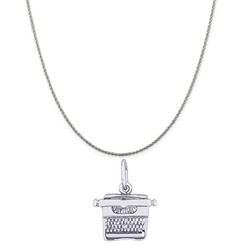 Rembrandt Charms Sterling Silver Typewriter Charm on a Sterling Silver Rope Chain Necklace, 18