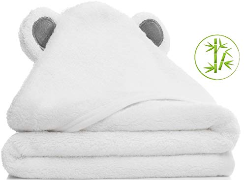 Hooded Baby Towel Set | Organic Bamboo | Soft | Absorbent | Hypoallergenic | Premium Baby Shower Gift for Boys and Girls ()