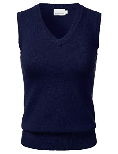 Women's Solid Classic V-Neck Sleeveless Pullover Sweater Vest Top Navy S