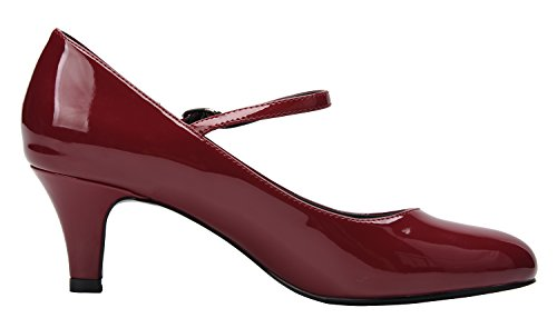 Pu Tobillo Tira CAMSSOO Patent Wine de Red Mujer P77qw0dx