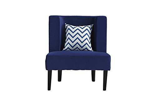 Accent Chair for Living Room, Upholstered Armless Velvet Chairs with Back Cushion and Natural Wooden Legs (Navy) by Divano Roma Furniture (Image #1)