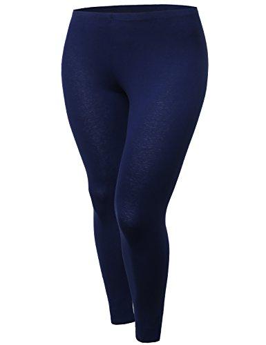 Cotton Spandex Full length Good Strechy Plus Size Legging Navy Size 2XL