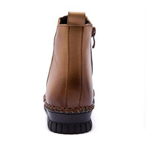 black donna chiusura cuoio 40 della della di genuino Boots femminile KHAKI lampo NSXZ 38 qEwvXz6