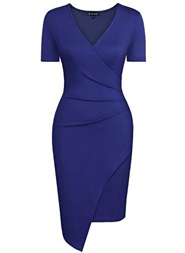 57be84e9a7 BOKALY Women Bodycon Dress Party Casual V Neck Ruched Wrap Pencil Cocktail  Dresses 258 at Amazon Women s Clothing store