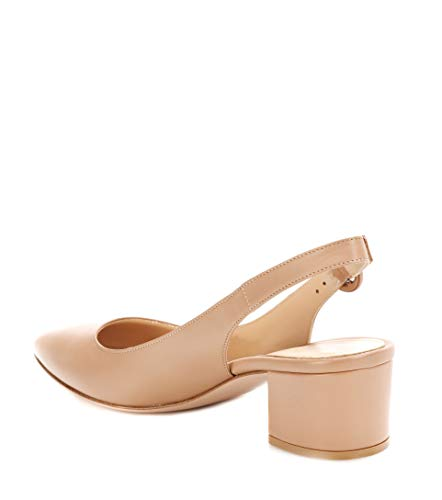 Con Donna Da Cinturino Slingback Tacco A Toe Scarpe Pointed Caviglia matt Beige Blocco Sandali Elashe Fibbia E4w5vqP