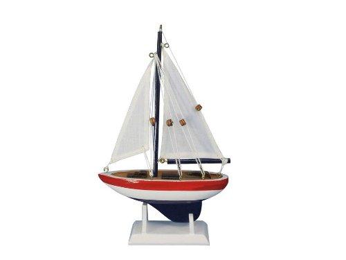 "USA Sailer 9"" - Small Wood Sailboat - Model Sailboat Decoration - Nautical Theme"