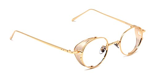 TIJN Vintage Circle Non-Prescription Eyewear Metal - Glasses Gold Prescription