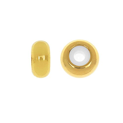 Beadaholique Adjustable Slider Clasp, Round with Silicone Center 8mm, 4 Pieces, Gold (Adjustable Sliders)