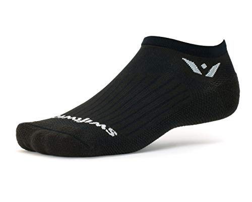 (Swiftwick- Aspire Zero | Socks Built for Running and Cycling | Fast Drying, Firm Compression No Show Socks | Black, Medium)