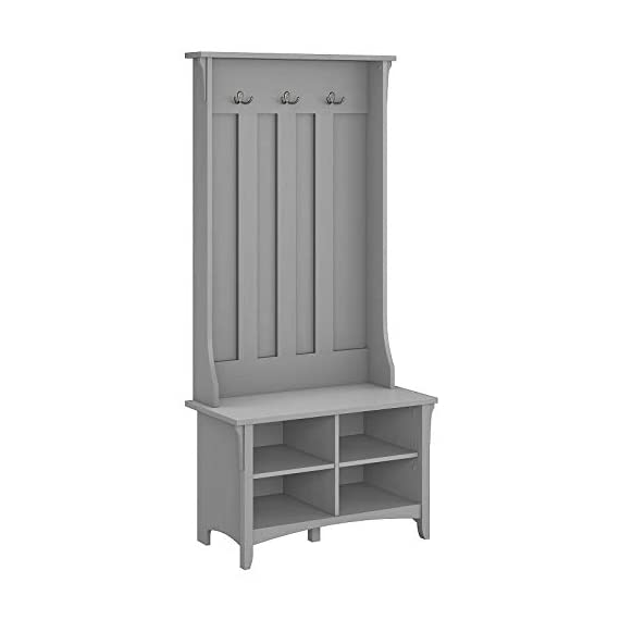 UNIVERSAL LTD Hall Tree with Storage Bench Shoe and Coat Rack in Cape Cod Gray Entryway Storage Organizer Easy Assembly (Cape Cod Gray) - ✅ FIRST IMPRESSIONS MATTER: Bring your guests to your home with a cheerful Welcome! Take off their coat and hang it on your new coat rack in the hallway; the exciting mix of classic and ancient design styles will certainly appeals your visitors. ✅ EVERYTHING UNDER ONE ROOF: This coat rack integrates a clothes rack, shoe rack and storage rack all in one unit; coat, boots, bag and keys are always at hand with easy access. Finished in Antique White with a slightly distressed touch, the country feel of the Hall Tree with Storage Bench looks great even beyond your entryway. A pair of adjustable shelves hold various items in any space, including a bedroom, dorm or hallway. ✅ BUILT TO LAST: The combination of a sturdy frame, sustainable and durable engineered wood constructions ensures a high stability of the coat rack even when loaded with heavy winter jackets; anti-tip kit for extra support. Tapered legs, a curved base and decorative wood detailing complement the casual homes of today. - hall-trees, entryway-furniture-decor, entryway-laundry-room - 3190IxgWUzL. SS570  -