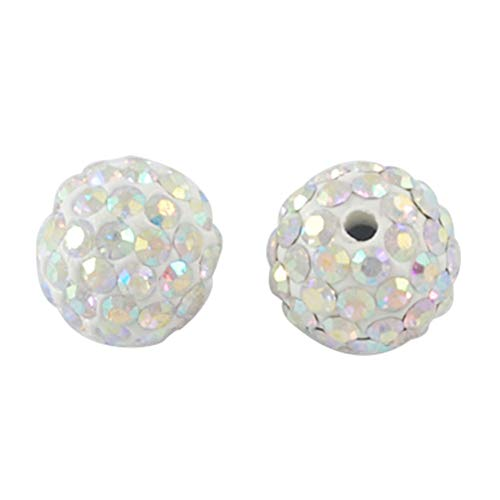 PH PandaHall About 100 Pcs 12mm Clay Pave Disco Ball Czech Crystal Rhinestone Shamballa Beads Charm Round Spacer Bead for Jewelry Making Crystal AB