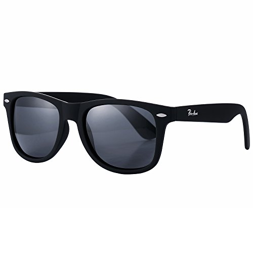 Pro Acme PA2140 Classic Polarized Wayfarer Sunglasses Unisex Square Frame (Black Lens/Matte Black - Men's Wayfarer Mirrored Sunglasses