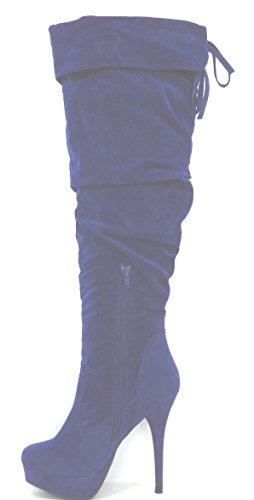 Donna Multi Colore Sopra Il Ginocchio Alto Zeppa Moda Elegante Pull On Boot Blu