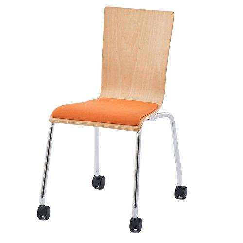 プライウッドキャスターチェア パッド付 /オレンジ(1脚)RFC-FPCAOR椅子 会議用椅子 会議椅子 キャスター付き イス ミーティングチェア カフェチェア ダイニングチェア ワークチェア スタッキングチェア スタックチェア B00KXOEAUE