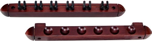 Standard-6-Pool-Cue-Stained-Wood-Wall-Rack-with-Clips