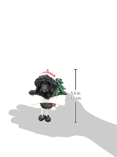 Labradoodle Ornament Black with Unique ''Dangling Legs'' Hand Painted and Easily Personalized Christmas Ornament by E&S Pets (Image #2)