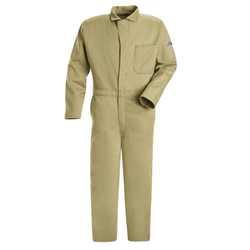 UPC 883248071540, Bulwark Flame Resistant 9 oz Twill Cotton Long Classic Coverall with Hemmed Sleeves, Khaki, 54 Long