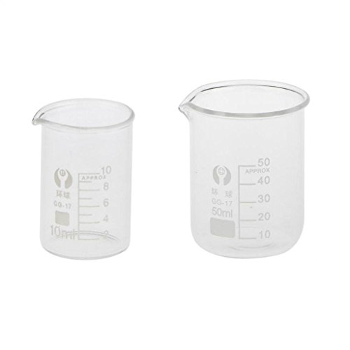 gazechimp ラボビーカー計量カップ(10mlおよび50ml)、卒業ラボウェア-ホウケイ酸ガラス