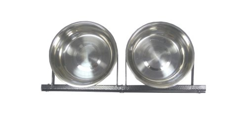 Lucky Dog Stainless Steel Double - Fixed Position Food & Water Pet Bowls (21in. x 8in. X 5in.)