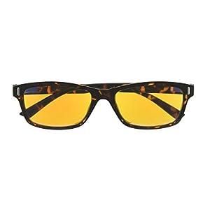 UV Protection,Anti Blue Rays,Reduce Eyestrain,180 Degree Computer Reading Glasses(Tortoiseshell,Amber Tinted Lenses) +2.0