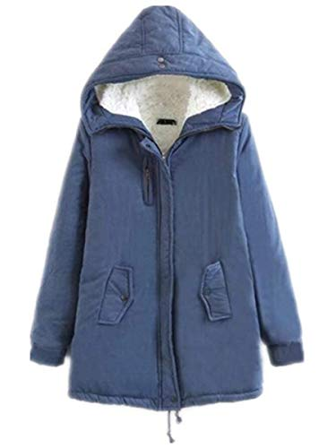 Élégant Baggy D'hiver Longues Vestes Épaissir Taille Mode Casual Veste Manches Chaud À Jeune Blau Manteaux Femmes Haute D'hiver D'extérieur À Capuche wwqvfP7