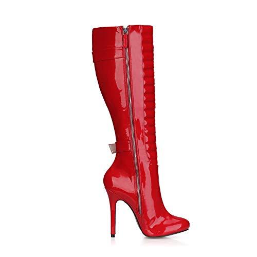 Solid Bottes en 12CM pour Zipper Au Hauts d'hiver À Buckle Bout Cuir Genou Verni Color Femmes Pointu Chaussures Red Chaussures Talons CCAUwq4