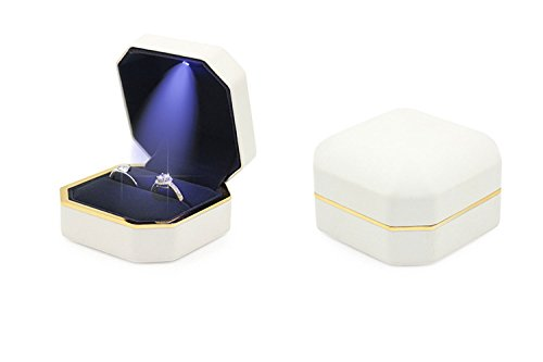 DEBON Double Ring Box with LED light PU Leather Velvet Storage Holder Display Case Couple Double Ring Bearer Box for Proposal Wedding Engagement Ceremony by DEBON