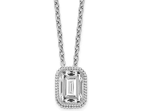 1.00 Carat (ctw) Synthetic Moissanite Bezel Solitaire Pendant Necklace in 14K White Gold (2.00 Carat Diamond Look)