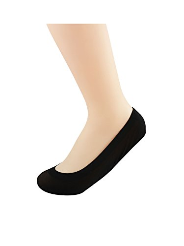 Azue Womens Ultra Low Cut No Show No Slip Light Footie Socks with Padded Ballet Flats Insoles