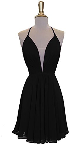 Backless Short Strappy Homecoming Chiffon Dresses DKBridal Black Back Prom Dresses V Neck Hxqgwn84R
