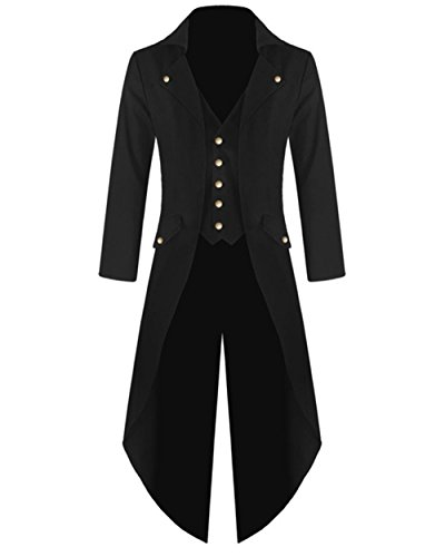 Feel Show Mens Steampunk Jacket Vintage Gothic Tailcoat Halloween