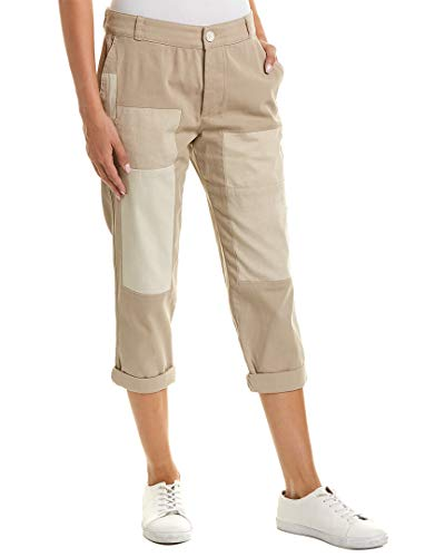 James Perse Womens Patched Vintage Linen-Blend Pant, 25, Beige ()