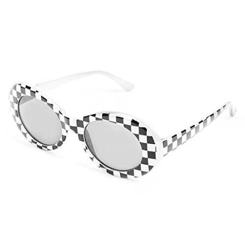 Clout Goggles Checkered, Vintage UV 400 Protection Bold Retro Sunglasses, Resin Oval Lens + Plastic Thick Frame, Mod Style Unisex Outdoor Sports Fashion Eyewear 1Pc White & - Protection Sunglasses Cheap Uv