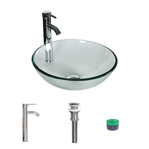 (UTRAHOME Bathroom Vessel Sink Bowl Combo - Clear Crystal Tempered Glass with Faucet Pop Up Drain Single Hole Above Counter Lavatory Vanity Top Brass Hardware Chrome Finsh 16.5 Water)