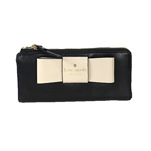 Kate Spade Nisha Bow Two-Tone Leather Zip Around Wallet, Black/Soft Porcelain