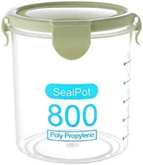 Mallallah Caja hermética Redonda plástico Transparente tarros apilables PP conservación Recipiente de almacenaje para harina Tapa 600/800/1000ml, Verde, M-800ML: Amazon.es: Hogar