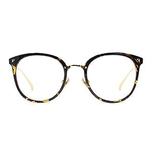 TIJN Vintage Optical Eyewear Non-prescription Eyeglasses Frame with Clear Lenses