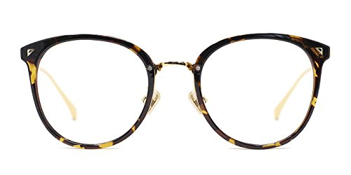 (TIJN Women Retro TR90 Metal Round Glasses Frame Optical Rx-able)