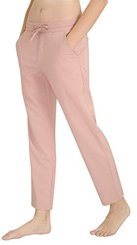 (Marycrafts Women's Casual Summer Beach Lounge Tapered Pull On Pants L Pink)