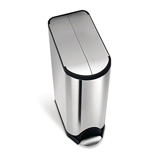 simplehuman 45 Liter / 11.9 Gallon Stainless Steel Butterfly Lid Kitchen Step Trash Can, Brushed Stainless Steel ()