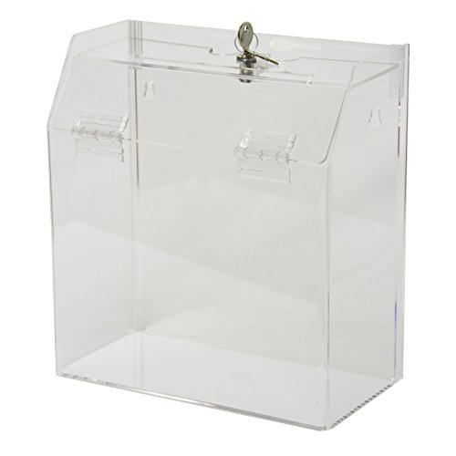 Clear-Ad - SBBL-596 - Clear Acrylic Ballot Box (5x9x6) with Lock - Plastic Container for Donation, Voting, Charity, Ballot, Survey, Raffle, Contests, Suggestions, Tips, Comments (Pack of 2)
