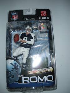 promo code e47b3 87a7e Tony Romo #9 Dallas Cowboys NFL Elite Series Retro White Shoulder/Sleeve  Blue Jersey Chase Alternate Variant McFarlane Bronze Collector Level  Limited ...